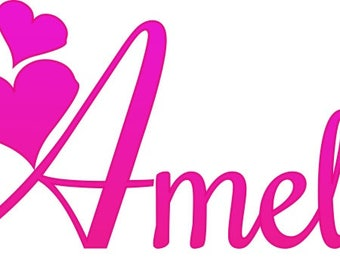 Personalised Pink Girls Name Iron On Transfer A5