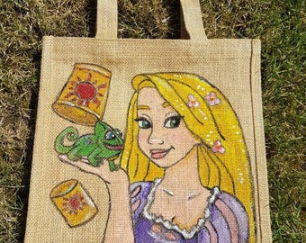 Rapunzel hand painted jute bag
