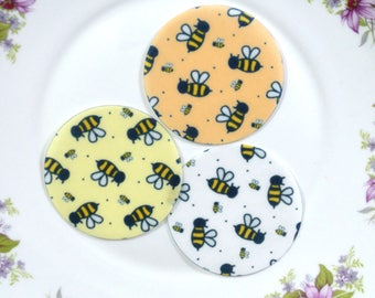 Edible Bumblebee Chintz Honey Bee Orange Yellow White Circles Wafers Paper Autumn Summer Cake Decorations Cupcake Biscuit Cookie Toppers