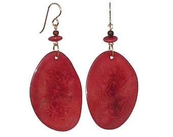 Rhubarb Red Tagua Earrings - Tagua Nut Earrings - Rhubarb Red Earrings - Natural Earrings