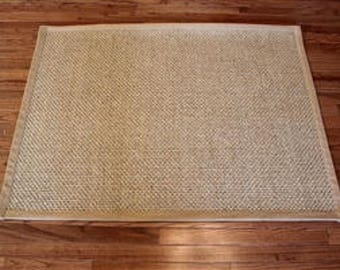 sisal rug with wide band cotton edge treatment