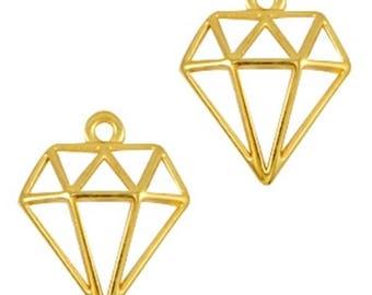 DQ Metal Pendant diamond-2 pieces-18 x 16 mm-Zamak-color selectable (colour: Gold)