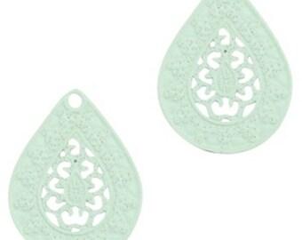 Bohemian Pendant-4 pcs.-20 x 15 mm-Drop shape-color selectable (colour: turquoise-green)