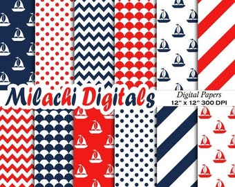 60% OFF SALE Nautical Digital Paper Pack, Sailboat, Chevron, Stripes, Polka Dots, Fishscale, Blue and Red, Sail Away, Instant Download - M35