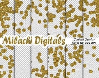 60% OFF SALE Gold confetti overlay clipart, transparent background, dot confetti, diy invitations, photography backdrop - M303