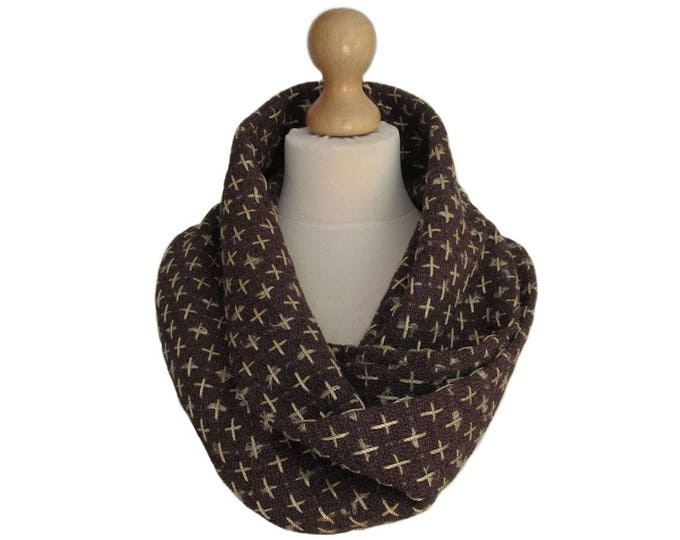 Linton Tweed Designer Cowl Neck Infinity Scarf in Chocolate Brown & Soft Gold