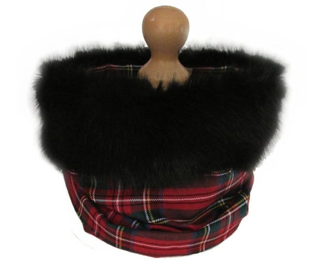 Royal Stewart Pure Wool Tartan Black Luxury Faux Fur Trimmed Cowl Neck Scarf
