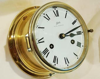 vintage german A.SCHATZ ROYAL MARINER 8 days ships brass clock with key