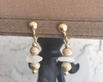 Vintage Clip On Earrings, Dangle Earrings, Clip On Earrings, Gold Earrings, White Earrings, Avon Clip Ons, Avon, Avon Earrings, Gold Clip On
