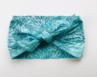 Batik with Blue Turquoise Floral Headwrap/Headband - One Size Fits