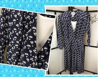 Peplum Skirt Day Dress, 80s Vintage Dress, Secretary Dress, Black Elizabeth, Small