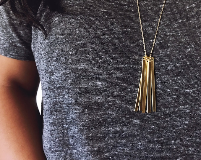 Golden Bars Necklace || Long Skinny Bars Necklace || Layering Necklace || Simple Gold Bar Necklace || Geo Supply Co.