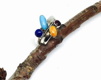 Turquoise , lapiz lazuli, coral ring sterling silver 925. Adjustable size. Natural authentic stones.