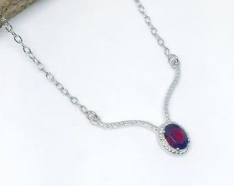 Red Garnet Necklace set  in sterling silver(92.5). Adjustable length. Genuine stones. Lobster clasp.