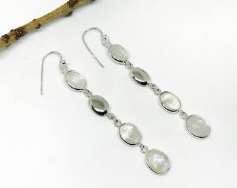 Rainbow moonstone earrings set in Sterling silver 92.5. Length- 2inch long. Perfect matched natural moonstones.