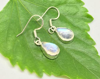 Rainbow moonstone earring set in Sterling silver 925. Natural authentic stones. Perfectly matched