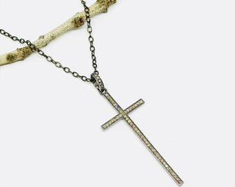 Pave diamond cross pendant, necklaces set in sterling silver 925 . Antique finish silver. Authentic diamonds. Length- 2.10 inch long