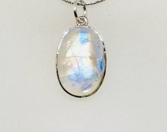 10% Rainbow Moonstone Pendant/ necklaces set in Sterling silver 925. Natural authentic moonstone. Length - 1.24 inch.