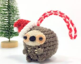 Crochet Amigurumi Cute Kawaii Sloth Small Stuffed Animal Accessory Christmas Tree Ornament with Santa Hat Holiday  Handmade Gift Present
