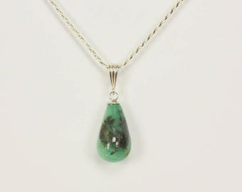 Natural Colombian Emerald Tear Drop Bead Pendant in Sterling Silver