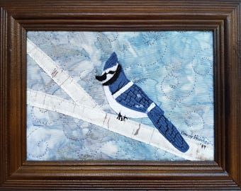 Rustic Wool Blue Jay Art /  Fiber Art / Blue Jay Art / Bird Wall Art / Thoughtful Gifts / Bird on Tree Branch / Felted Wool Decor / Canada