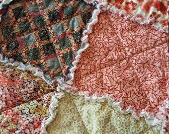Imperial Garden Large Rag Quilt Throw - Pink, Peach, Coral, Black, Ivory, Gold