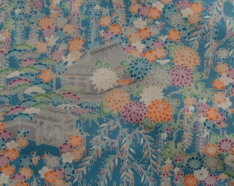 Vintage Japanese Silk Kimono Fabric Tea Houses and Gardens