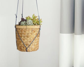 Large Woven Hanging Planter | Vintage Wicker Basket Rattan Plant Pot Holder & Gray Macrame Hanger | Cactus, Succulent | Modern Boho Decor