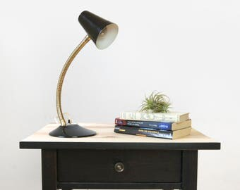 Vintage Adjustable Gooseneck Lamp | Black and Gold | Modern, Industrial Decor Office & Desk | Black Table Light