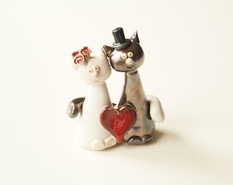Wedding Cake Topper, Cat Cake Topper, Ceramic Cat Couple, Wedding Gift, Ceramic Cake Topper by Her Moments