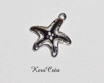 1 x charm charm Starfish black enamel