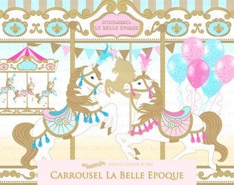Carousel / Gold Carousel / Carrousel La Belle Epoque Clip Art - Instant Download - CA154