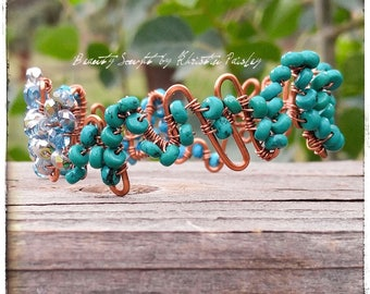 turquoise copper bangle Czech glass bead beaded bangle blue beads blue stone green stone silver finish wire wrapped tarnish resistat wire