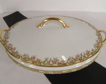 Noritake China Oval Covered Vegetable Bowl Alsace Pattern Green Pink Floral Border
