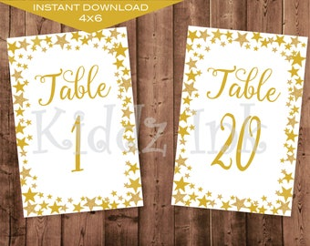 Table Number Signs   4x6   Twinkle Twinkle   Gold   Baby Shower   Birthday   Wedding   Printable   DIGITAL INSTANT DOWNLOAD