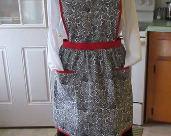 Granny Apron White and Black Paisley trimmed in red binding made in Maine