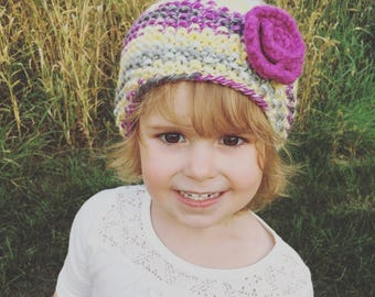 Knit Hat with a Flower, Hand Knit Flower Hat