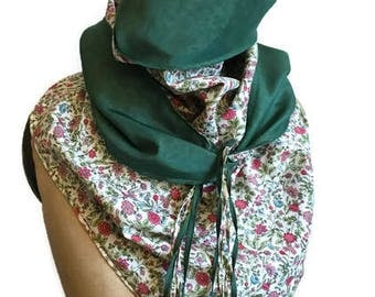 Liberty fabric, triangle cotton spring scarf scarf soft silk green and pink Liberty style scarf/shawl