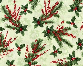 RJR's Merry Berry Bright Fabric Holly Leaf