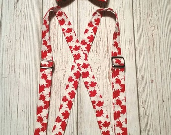 Canada Day bow tie and suspender set