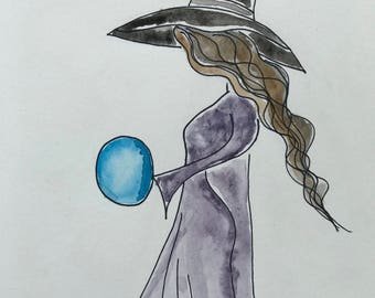 Watercolour Witch Thalia A5 (Original piece)