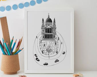 Saint Paul's Cathedral Print A4