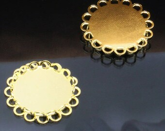 x 5 Support pendant round ring 20mm gold (T221)