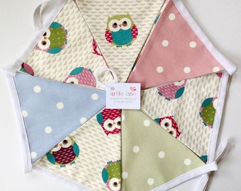 Bunting, Owls Bunting, Dotty Bunting, Fabric Bunting, Lined Bunting, Decoration, Nursery, Baby Shower, Child's Bedroom, Dotty Bunting, Cute
