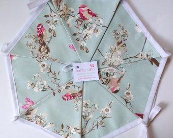 Bunting, Beautiful Birds Bunting, Butterflies Bunting, Duck Egg Blue Bunting, Fabric Bunting, Lined Bunting, Decoration, Butterflies,  Birds