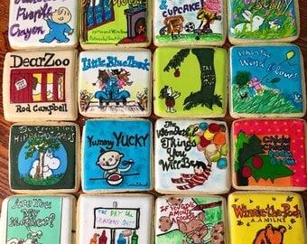 Decorated Children's Book Cover Sugar Cookies- Hand painted Book Cookie Set- Custom Book Cookies- 1 Dozen