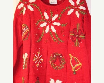 30% OFF Sale Ugly Christmas Poinsettia Sweater Tacky Sweater Size XL