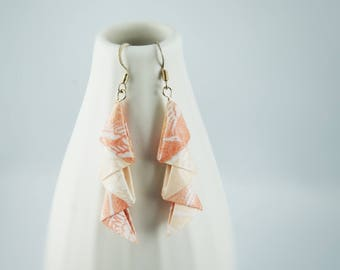 Origami paper, salmon modules assemblage earrings