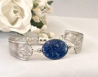 Lapis Lazuli Bracelet for Women , Protection Bracelet, Mind Bracelet, Silverware Jewelry, Mother's Day Gift For Mom, Spoon Bracelet