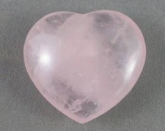 Pink Rose Quartz Heart Stone - Universal Love, Comfort Stone, Healing Crystals and Stones, Love Stone, Puffy Heart, Heart Chakra (T115)